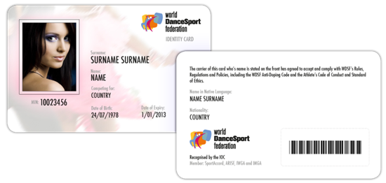 WDSF Athlete's ID Card