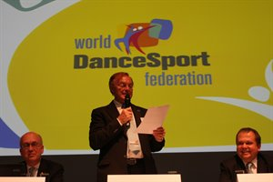 WDSF President Freitag announcing the change of name